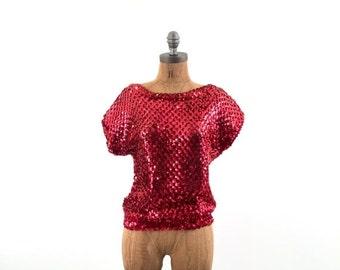 FLASH SALE vintage RED sequin open Weave elastic Top S-M