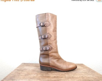 FLASH SALE vintage TAUPE 2 tone Shearling lined Harness boots, size 7