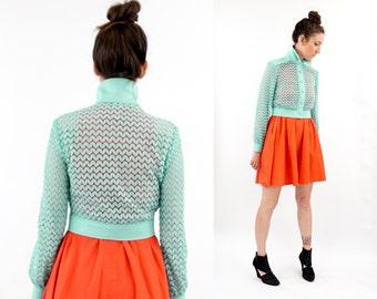 vintage 60s MINT open knit CROPPED jacket S-M