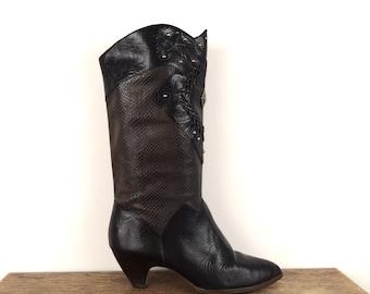 vintage SOUTHWESTERN black studded faux SNAKESKIN leather boots 8.5 - 9