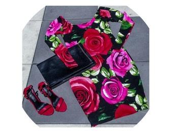 Floral Bodycon Midi w/ sewn-in spanx