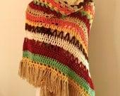 Fringe Shawl Earthy Stripe Crochet boho Wrap Shawl Handmade Easy Care