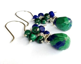 Green Malachite and Blue Lapis Lazuli Earrings in Sterling Silver