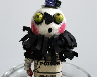 Halloween Pumpkin Zombie Poison Bottle Folk Art Decoration