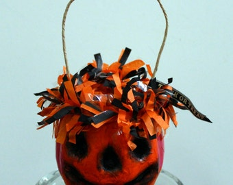 Halloween Pumpkin Paper Mache Bucket Basket Container Decoration