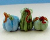Pumpkin and Gourd Bead Trio  - Handmade Lampwork Glass Beads - SRA