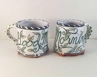 Hand painted majolica pottery coffee mug - Good Morning - ceramic tea mug - artist Karen Baker - leaves and vines - nature inspired