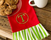 PERSONALIZED Christmas  Hand Towel - Stripe Monogrammed