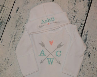 Personalized Arrow Infant Gown and Cap set Monogrammed Coming Home Outfit