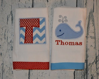 Personalized Whale Burp cloth Set of 2  Burpies  Monogrammed