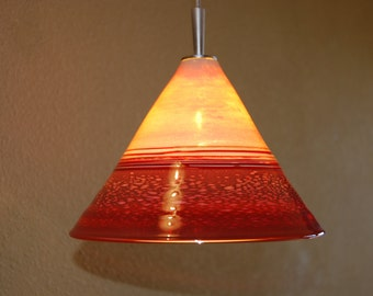 Handblown Red glass pendant light with low voltage fixture