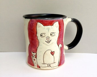 Cat Mug, Large, Red, Cat and Rat Mug with Gray Kitty, Big Coffee Mug or Big Tea Mug, Animal Pottery, Cat Pottery