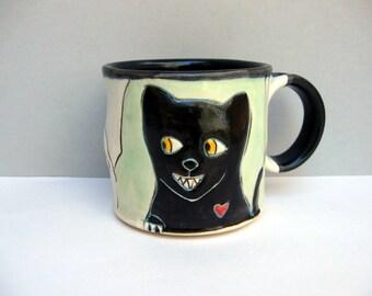 Cat Mug, Small, Green Kitty Mug with Black Cat and Running Rats, Small Ceramic Coffee Mug or Tea Mug, Animal Pottery, Cat Pottery