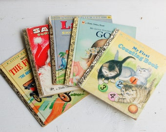5 Vintage Little Golden Books Picture BOOKS 1950's to 1990's Scrapbook Collage Art