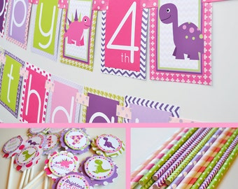 Dinosaur Birthday Party Decorations Package Fully Assembled | Girly Dinosaur | Pink Purple Green | Girly Dinosaur Party | Pink Dinosaur