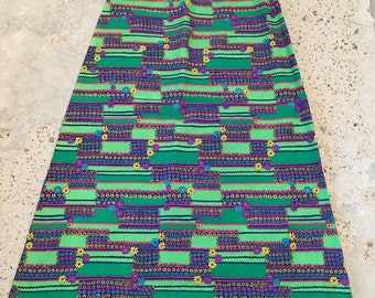 1970s Vintage Maxi Skirt - Lime Green Green Blue Graphic - Pink Blue Yellow Purple Floral - Graphic Floral - Bohemian Boho Style - 27 Waist