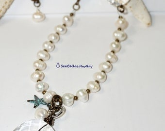 """Ivory Copper Brass Long 30 1/2"""" Necklace, Chunky acrylic beads, Starfish patina, antique, fresh water pearls, cream, wedding,bridal gift"""
