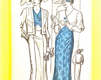 Unused 1930s Misses' Dress and Jacket Vintage Sewing Pattern Bust 38 inches