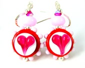 Valentine's Day Earrings, Pink Red Fuchsia Heart Earrings, Whimsical Glass Earrings, Colorful Jewelry, Valentine's Jewelry Lampwork Earrings