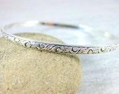 Patterned Sterling Silver Bangle Bracelet, Vine & Leaf Nature Inspired Bracelet, Simple Stacking Bracelet, Minimalist Jewelry, Victorian