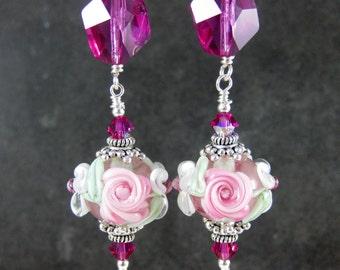 Pink Floral & Fuchsia Crystal Dangle Earrings, Pink Rose White Flower Earrings, Lampwork Earrings, Cottage Chic Earrings, Glass Earrings
