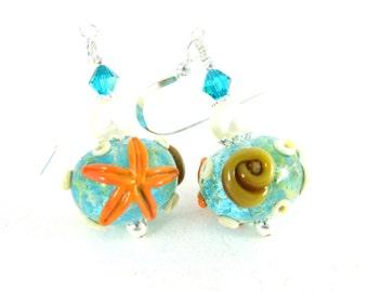 Aqua Glass Seashell & Starfish Dangle Earrings, Beach Earrings, Ocean Jewelry, Beach Jewelry, Teal Lampwork Earrings, Sea Earrings Pearl