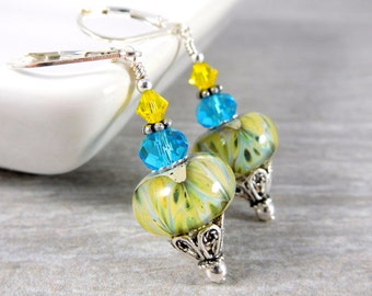 Yellow Turquoise Blue Glass Dangle Earrings, Sterling Silver Jewelry, Boro Lampwork Earrings, Boho Earrings, Summer Gypsy Jewelry Leverbacks