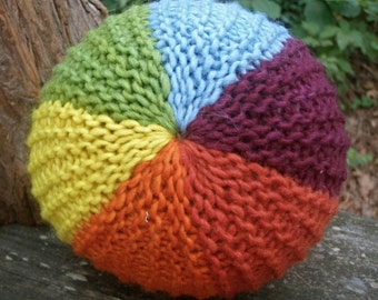 Bold Rainbow Ball--Large--Knitted with Plant Dyed Wool Mohair Blend Yarns