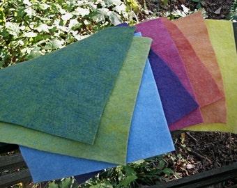 Rainbow Felt---Wool-Rayon Felt-- 9 1/2  X 9 1/2 Inches-- 8 Sheets--Plant Dyed