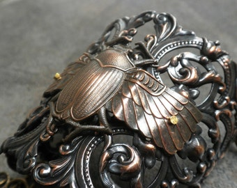 Steampunk Jewelry Statement Cuff Bracelet Scarab Beetle