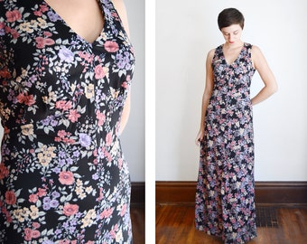70s Nylon Vintage Floral Maxi Dress/Nightgown- S/M