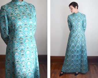 1970s Designer Mollie Parnis Brocade Maxi Dress - S/M