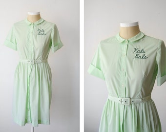 1960s Kals Gals Mint Green Shirt Dress - L