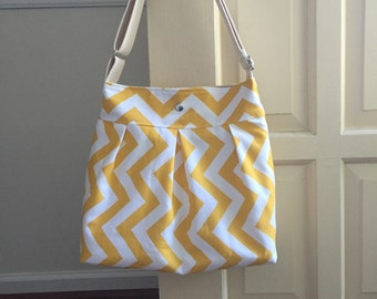 medium cross body messenger bag // yellow chevron canvas adjustable strap purse // the mini bravo bag // READY TO SHIP