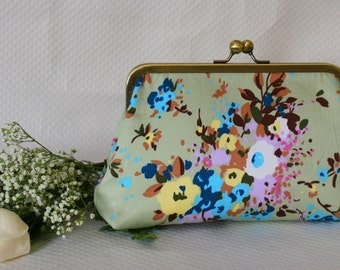 Bridesmaids Clutch - Floral Clutch - Bridesmaids Gifts - Wedding Clutch - Mint Floral Purse - Amelia Clutch