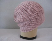 Pink Slouchy Beanie. Hand Knit Merino, Silk, and Cashmere Ribbed Hat. Fall and Winter Accessories.