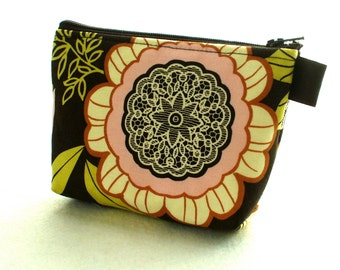 Clearance SALE Amy Butler Fabric Gadget Pouch Cosmetic Bag Zipper Pouch Makeup Bag Cotton Zip Pouch Lacework Black Olive Pink Floral Lotus