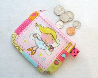 Cute Fabric Coin Purse for Girls Fairy Cupcake Flowers Patchwork Mini Zipper Change Purse Pastel Pink Aqua Fairies Kawaii Handmade