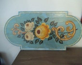 French Country Painted Yellow Roses on Aqua background ~ Wooden Plaque Sign Wall Hanging