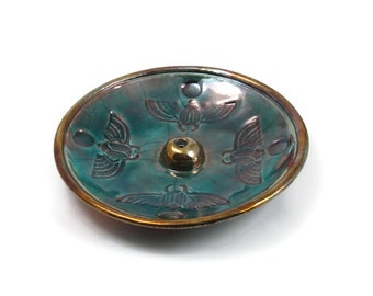 Incense burner SCARAB Egyptian  Handmade Pottery RAKU  Ceramic