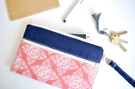 iPhone Bag, iPhone Wristlet, Galaxy S6 Case, Galaxy S6 Sleeve, Phone Case with Strap - Coral and Navy