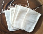 Set of 100 Unbleached Cotton Muslin Drawstring Bags Made in the USA