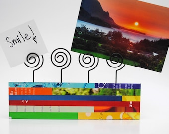 colorful photo holder- made with recycled magazines- neutral colors, unique, photo display block, wood block, recycled, brown