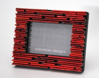CHOOSE your own color- MINI picture frame - made from recycled magazines, blue, green, red, purple, pink, yellow, orange grey,white