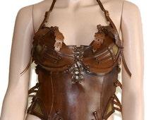 Steampunk corset Steampunk bra leather bra cosplay bra mad max costume steampunk style SEXY leather brace steampunk Halloween