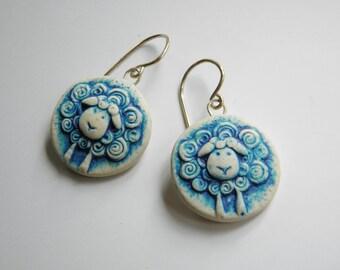 Sheep Polymer Clay Earrings- dangle disk earrings- rustic button mold earrings