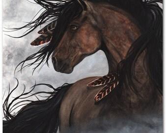 Majestic Mustang Native American Spirit Horse Feathers Smoke ArT-  Giclee Print by Bihrle mm152