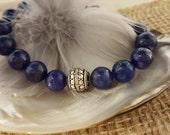 Hand made Blue Lapis Lazuli Bracelet Bali sterling silver chunky Boho  jewelry large beaded stretchy elastic