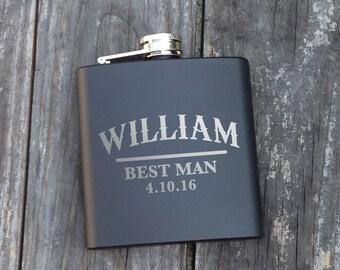 1 Personalized Groomsmen Flask, Personalized Engraved Flasks, Hip Flask, Black Stainless Steel Flasks - 1 Flasks Wedding Monogram Name