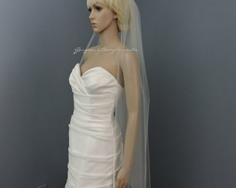 Wedding Veil Fingertip Length Single Tier with Cut Edge Standard Fullness Bridal Veil CE45X72